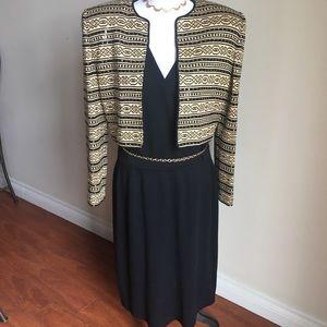 St. John Gold and Black Dress w/ Jacket.